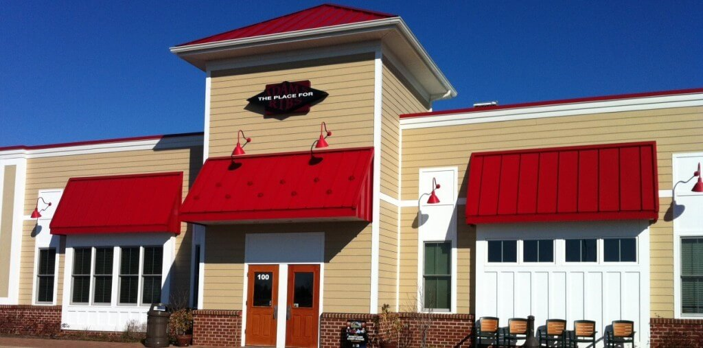 Front of restaurant summer Adam's Taphouse and Grille Kent Island